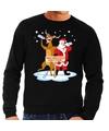 Foute kersttrui zwart met een dronken kerstman en Rudolf voor heren XL (54) Zwart