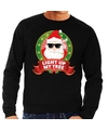 Foute kersttrui zwart wiet rokende kerstman Light Up My Tree heren S (48) Zwart