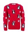 Foute kinder kersttrui met pinguins 11/12 jaar (152) Rood