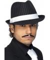 Zwart/wit gestreepte gangster hoed