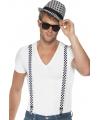 Geblokte hoed met bretels setje