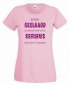Dames t-shirt roze met geslaagd print