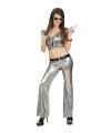 Zilveren glitter broeken dames