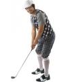 Golfers kostuum zwart/wit voor heren