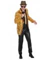 Gouden heren jasje met pailletten 52-54 (L/XL) Goudkleurig