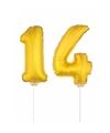 Folie ballonnen cijfer 14 goud 41 cm