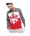 Grijs/rode foute/lelijke gebreide kersttrui met sneeuwvlok print voor heren/volwassenen 2XL (44/56) Multi