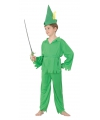 Groen bos jongen kostuum voor kinderen 128 - 6-8 jr Groen