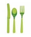Plastic bestek in de kleur groen