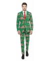 Groene business suit met kerst thema 54 (2XL) Multi