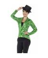 Groene pailletten circus jas voor dames 40-42 (M) Groen