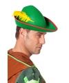 Groene hoed met gele veer