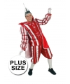 Plus size Rood Prins Carnaval kostuum voor heren