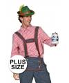 Grote maat Tiroler heren blouse 64 (6XL) Rood
