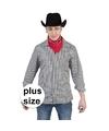 Grote maat zwart met wit geruit cowboy overhemd voor heren 60-62 (3XL/4XL) Multi