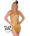 Grote maat dames jurk goud