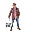 Grote maten western jas bruin voor heren 64-66 (2XL) Bruin