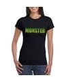 Halloween monster shirt zwart dames S Zwart