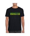 Halloween monster shirt zwart heren S Zwart