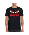 Halloween vampieren ogen shirt zwart heren S Zwart