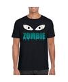 Halloween zombie ogen shirt zwart heren S Zwart