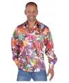 Hippie carnavals blouses heren Fun 60-62 (XL) Multi
