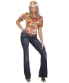 Hippie shirt met bloemenprint M Multi