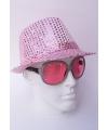 Roze hoed met pailletten