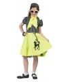 Jaren 50 jurkje met poedel lime groen 140 - 8-10 jr Groen