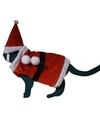Katten / poezen kerstman kostuum met hoed one size Rood