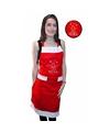 Kerst verkleedkleding schort Joyeux Noel One size Rood