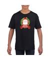 Kerstman kerstmis shirt zwart voor jongens en meisjes L (146-152) Zwart