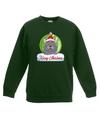 Kersttrui grijze kat / poes kerstbal groen voor jongens en meisjes 12-13 jaar (152/164) Groen