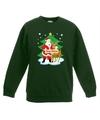 Kersttrui kerstman en rendier voor kerstboom groen voor jongens en meisjes 14-15 jaar (170/176) Groen