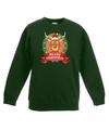 Kersttrui met Rudolf het rendier groen voor jongens en meisjes 3-4 jaar (98/104) Groen