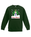 Kersttrui pinguin voor kerstboom groen voor jongens en meisjes 9-11 jaar (134/146) Groen