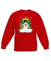 Kersttrui sneeuwpop en vrienden voor kerstboom rood voor jongens en meisjes 12-13 jaar (152/164) Rood