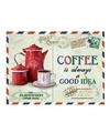 Metalen koffie thema plaatje Always A Good Idea 15 x 20