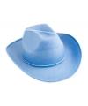 Licht blauwe cowboy party hoed