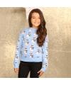 Lichtblauwe winter trui voor meiden 9/10 jaar (140/152) Blauw