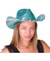 Luxe blauwe glitter hoeden