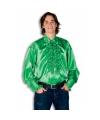 Luxe heren rouche overhemd groene 56 (2XL) Groen