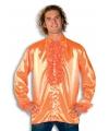 Luxe heren rouche overhemd oranje 56 (2XL) Oranje