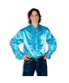 Luxe heren rouche overhemd turquoise 56 (2XL) Blauw