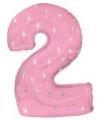 Roze cijfer ballon 2 met helium