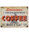 Metalen wand bordje koffie