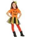 Oranje Halloween pompoen jurkje voor meisjes 128-134 (7-9 jaar) Multi