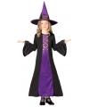 Paarse heksenjurk halloween kostuum meisjes 128-134 (7-9 jaar) Multi