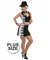 Piano outfit voor dames grote maat 44 (2XL) Multi