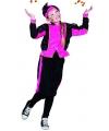 Pieten outfit fuchsia/zwart voor meisjes 10-12 jaar Roze